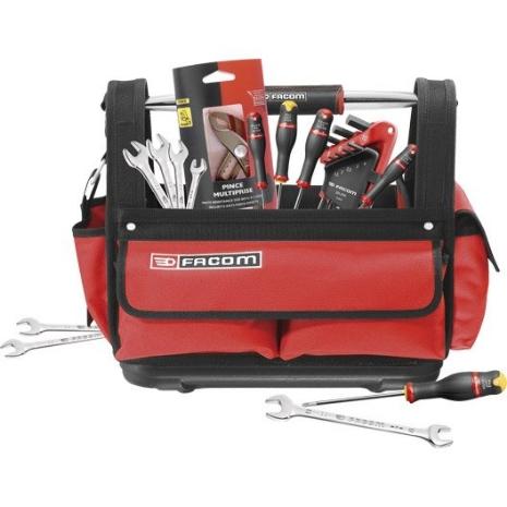 Sac d'outils Facom - 9 clés mâles + 7 clés à fourche + 5 tournevis + 1 pince multi-prise gaînée (via ODR de 30€)