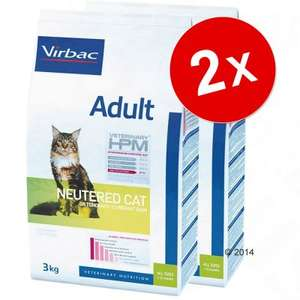 Lot de 2 sachets de croquettes pour chat stérilisé Virbac Veterinary HPM Adult Neutered - 2x12 kg