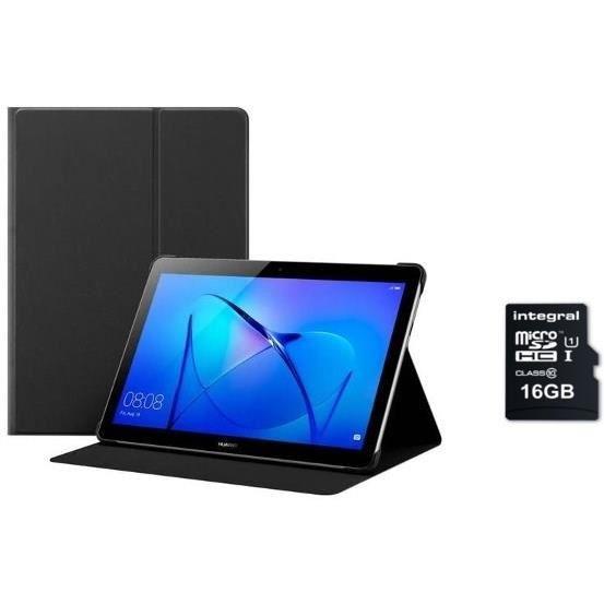 """Pack tablette tactile 9.6"""" Huawei MediaPad T3 10 (MSM8917, 2 Go de RAM, 16 Go) + étui de protection + carte SDHC classe 10 Integral (16 Go)"""