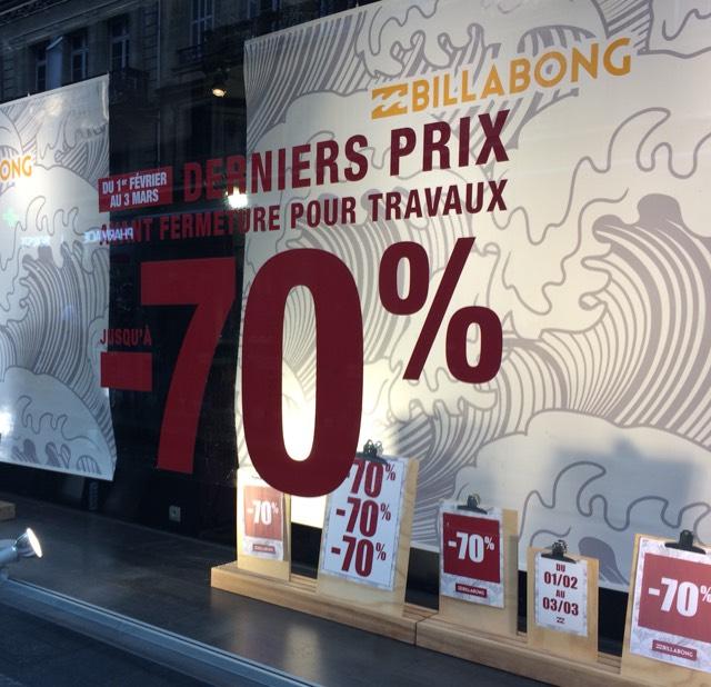 70% de remise immédiate sur tout le magasin Billabong - Bordeaux (33)