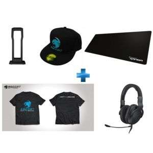 Pack Gaming Roccat - Casque CROSS + Repose Casque Modulok + Tapis de Souris XXL Choice Cloth + T-Shirt taille M + Casquette