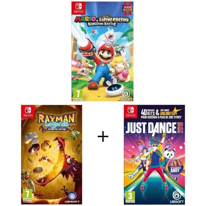 Pack de 3 jeux Nintendo Switch : Mario + The Lapins Crétins Kingdom, Just Dance 2018 et Rayman Legends Definitive Edition- sur Nintendo Switch