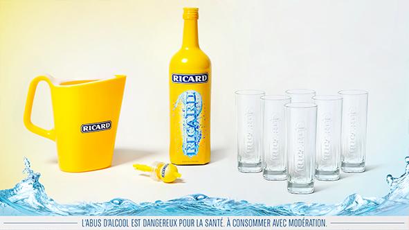 Bouteille 1L Ricard édition limitée + kit complet apéritif (6 verres + 1 pichet 1L + doseur)