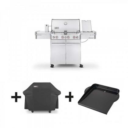 Pack barbecue gaz WEBER Summit S-470 GBS inox + housse de luxe + plancha