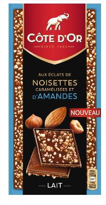 Lot de 2 Tablettes de Chocolat au Lait Côté d'Or avec Éclats de Noisettes Caramélisées et d'Amandes - 2 x 103g