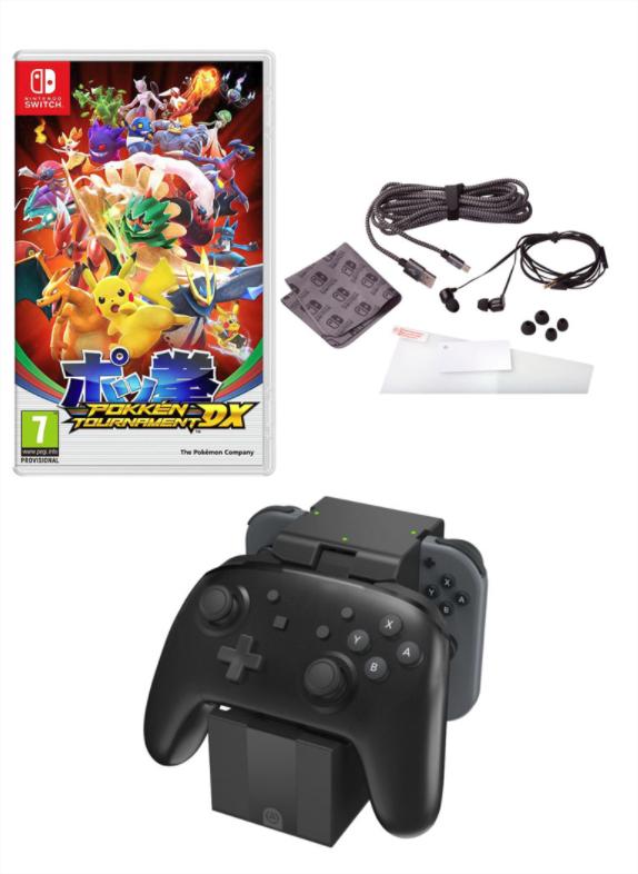 Jeu Pokkén Tournament DX + Charging Dock Pro Controller + Kit de voyage pour Nintendo Switch