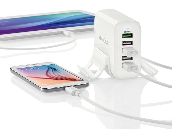 Station de recharge USB Silvercrest - 5 Ports USB, 1 Port QC 3.0