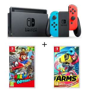 Pack Console Nintendo Switch Néon + Arms + Super mario Odyssey