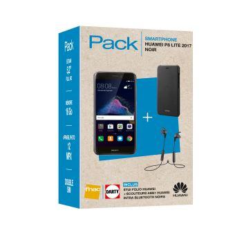 Pack Fnac Smartphone Huawei P8 Lite 2017 Double SIM 16 Go Noir + Etui folio + Ecouteurs Bluetooth AM61