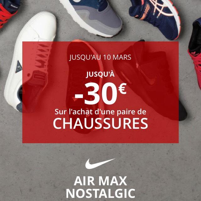 Jusqu'à -30€ sur l'achat d'une paire de chaussures - Ex Chaussures homme Nike Air Max Nostalgic (Bleu)