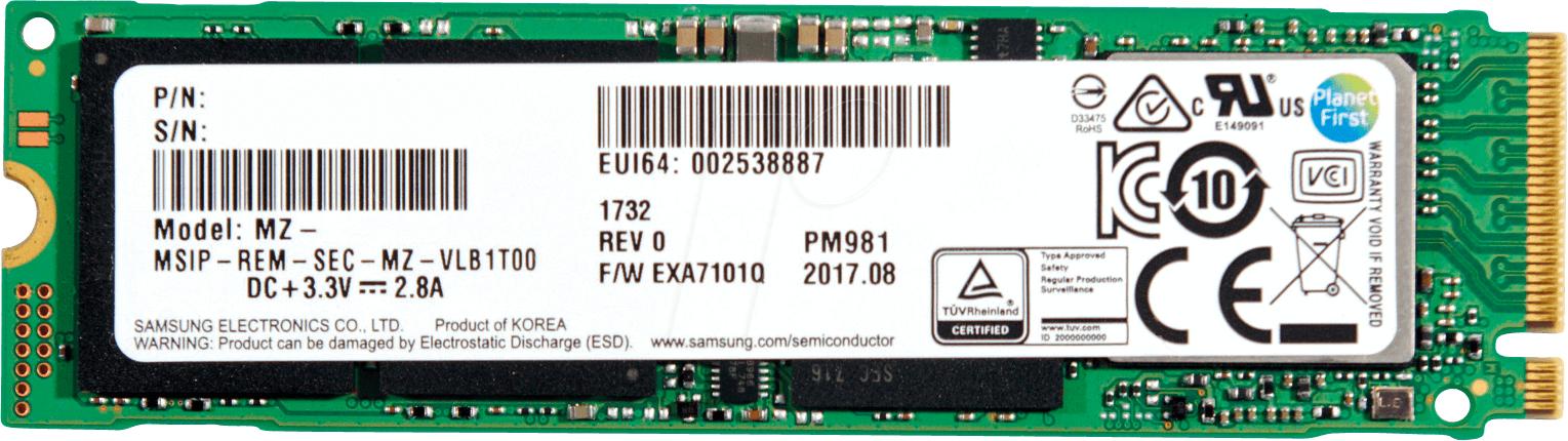 SSD interne M.2 NVMe Samsung PM981 (OEM, 3D TLC V-NAND) - 512 Go à 196.54€ et 256 Go à 118.94€