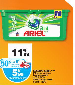 Lessive Ariel 3 en 1 Pods - 30 lavages (50% sur la carte fidélité + BDR)