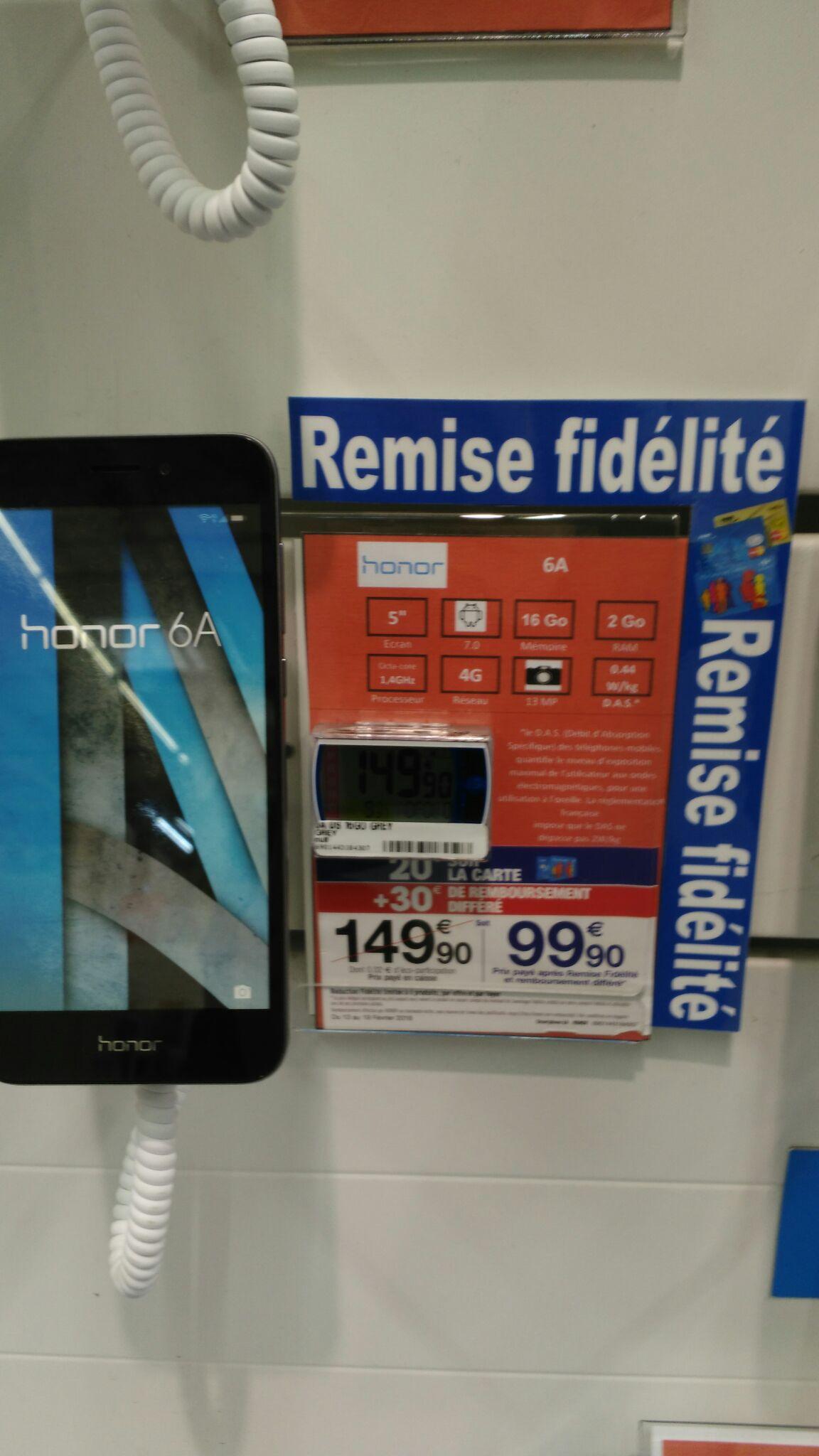 Smartphone Honor 6A - Double SIM - 16 Go - Argent(Via 20€ sur la carte et 30€ en ODR) - Wasquehal (59)