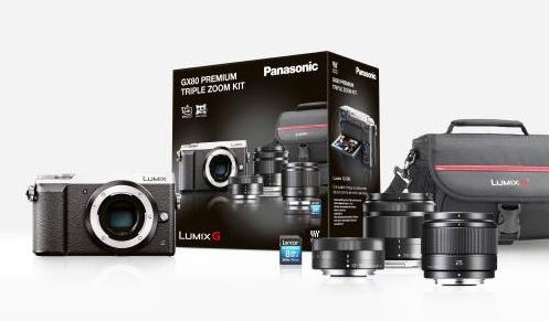 Pack Hybride Panasonic Lumix DMC-GX80 Argent + 3 Objectifs (12-32mm ; 35-100mm ; 25 mm) + Carte mémoire SDHC 8Go