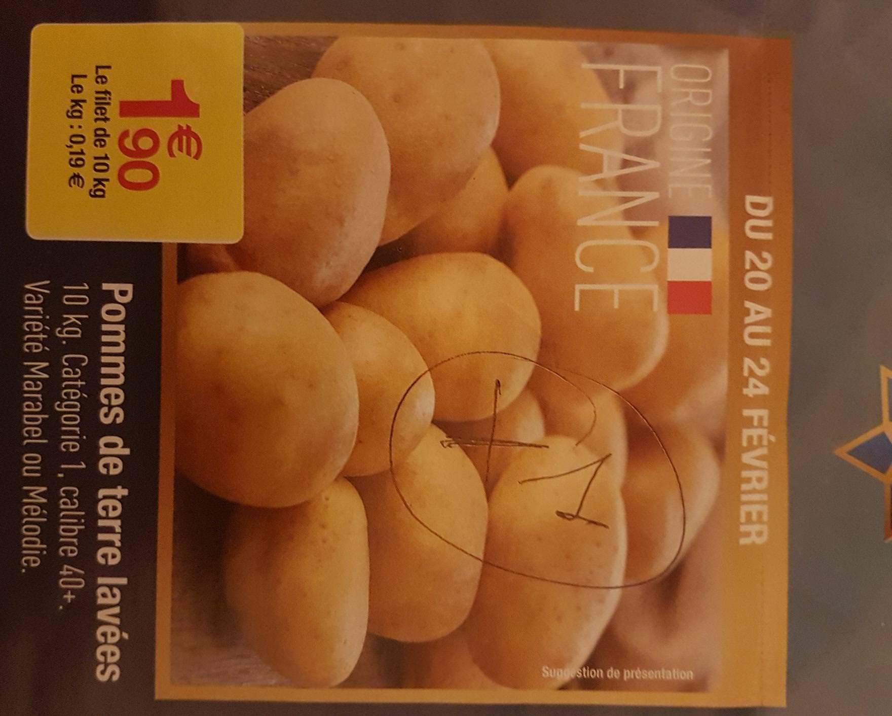 5kg d'Oignons à 1,30€ ou Filet de 10Kg de Pommes de Terre Lavées Calibre 40 Catégorie 1 - Variétés au choix