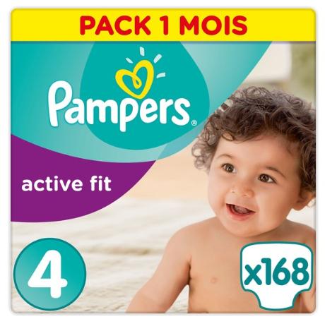 [Carte de Fidélité] Lot de 3 Paquets de Couches Pampers Active Fit Taille 4 - 3 x 168