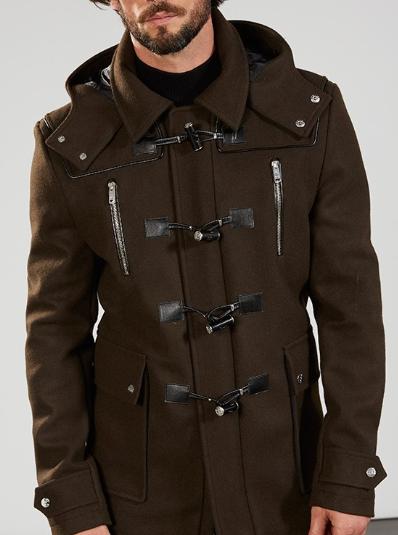 Duffle Coat Kaki en Laine pour Hommes - Tailles au choix