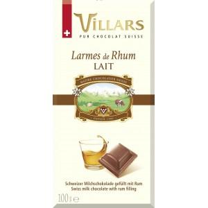 2 tablettes de chocolat au lait Villars - Larmes de Rhum (100 g)