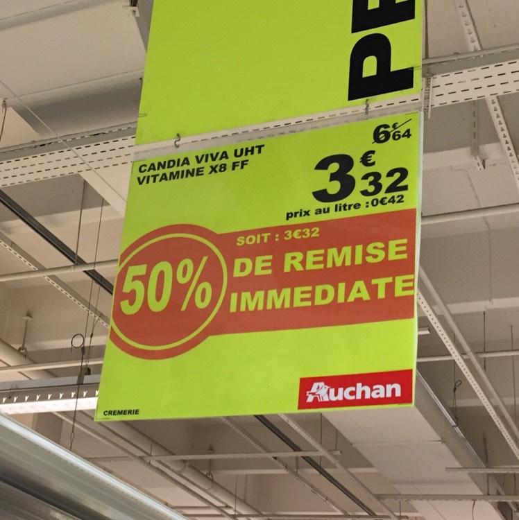 Pack de 8 Bouteilles de Lait Candia Viva pack - 8x1L, Auchan V2 (59)