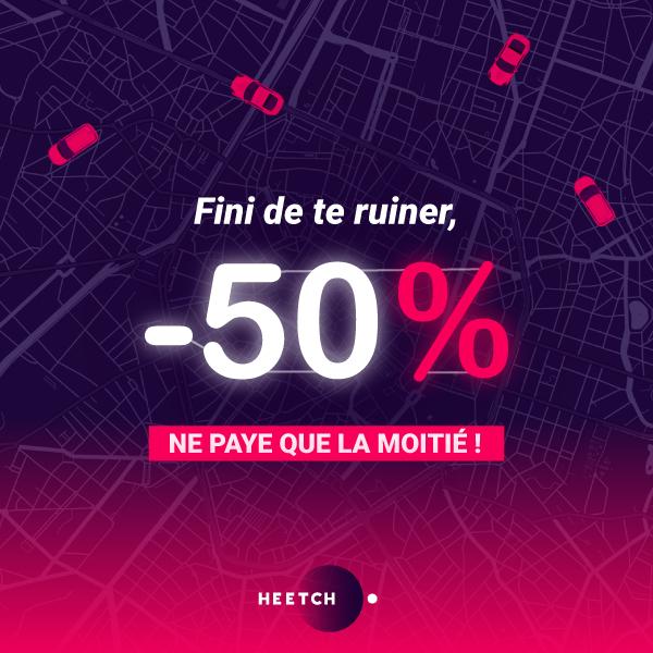 50% de réduction sur  toutes les courses à Marseille et à Bordeaux