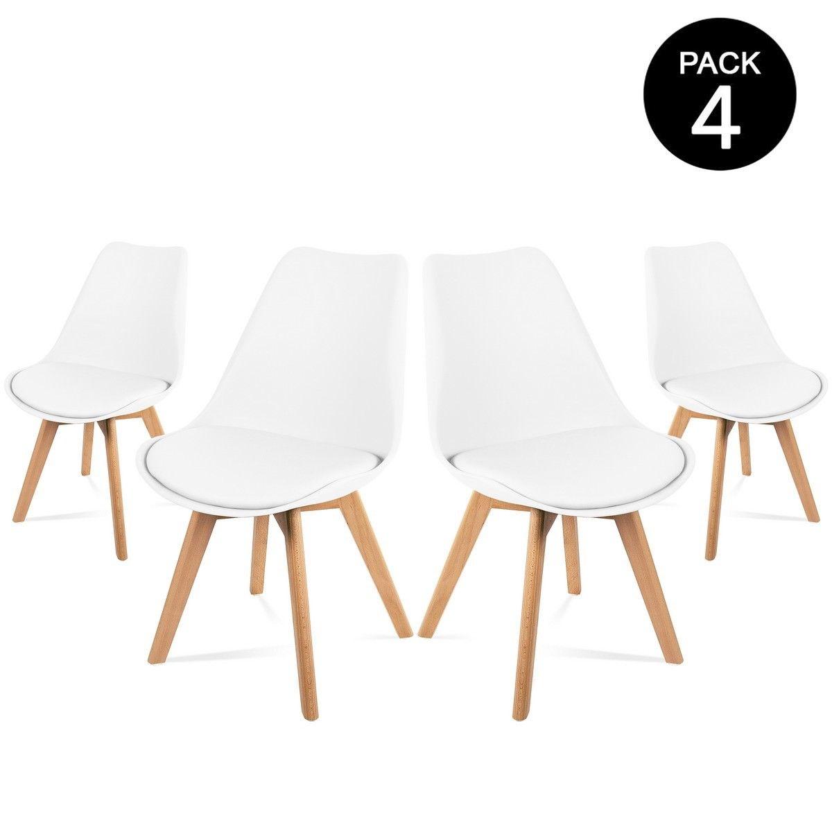 Lot de 4 Chaises avec Assise rembourrée et Pieds en bois - Style scandinave (Blanc)
