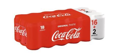 Lot de 18 cannettes Coca-Cola - 33cl