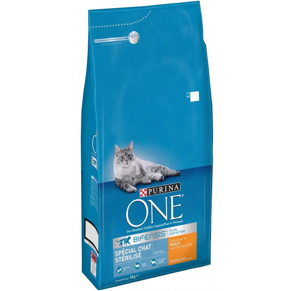 Sac de Croquettes Purina One pour Chats Stérilisés (Variétés au choix) - 6kg (Via 15.82€ sur la Carte de Fidélité)