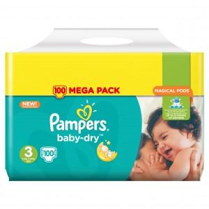 Mega Pack de Couches et Couches-Culotte Pampers Baby Dry - Tailles au choix (Via Carte de Fidélité + BDR)