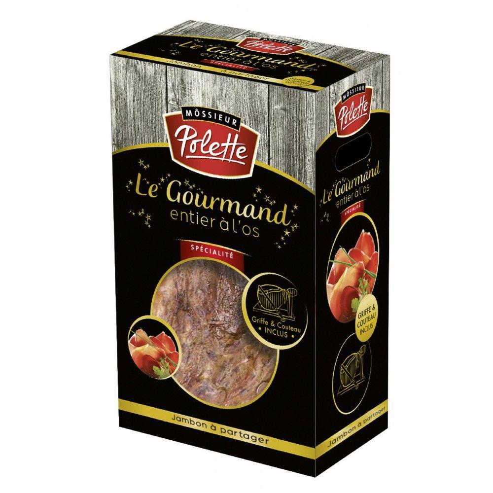 Coffret jambon entier à l'os Môssieur Polette Le Gourmand (5 kg) + couteau + griffer (via 41.3€ sur la carte de fidélité)
