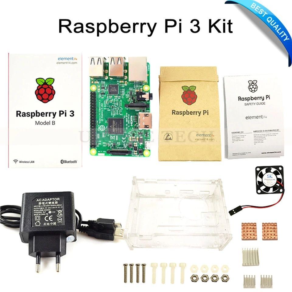 Starter kit Raspberry Pi 3 B - Carte de Développement + Alimentation + Boitier + Dissipateurs de chaleur
