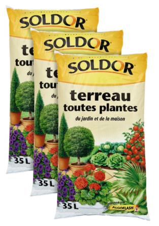 Lot de 3 Sacs de Terreau Soldor Toutes Plantes - 3 x 35L