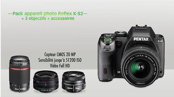 Pack appareil photo reflex Pentax K-S2 + 3 objectifs : 18-50 mm, 50 mm et 55-300 mm