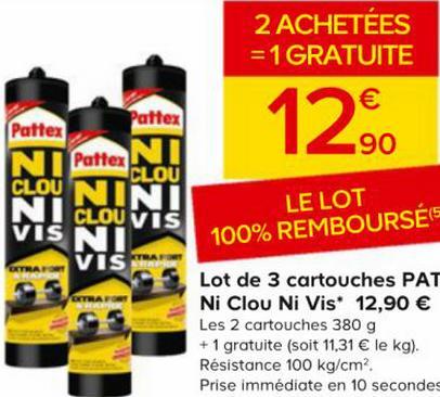 """3 cartouches de """"ni clou ni vis"""" de Pattex 100% remboursées (au lieu de 12.90€)"""