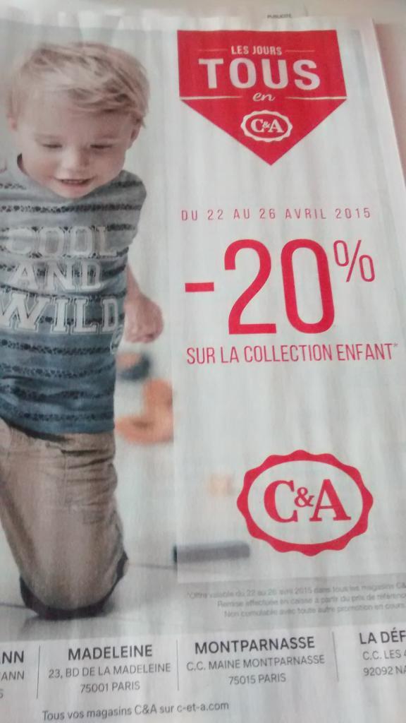 20% de réduction sur toute la collection enfant