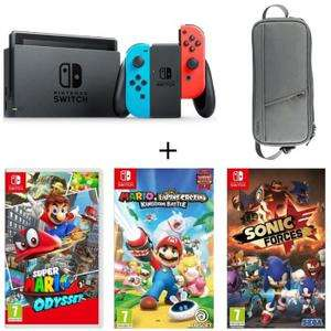 Console Nintendo Switch Néon + Super Mario Odyssey + Mario Lapins Crétins Kingdom Battle + Sonic Forces + Sacoche