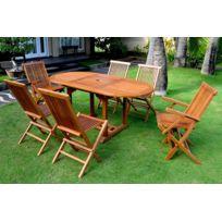 Salon de Jardin Teck Massif - Table 6/8 Personnes, 6 Chaises (vendeur tiers)