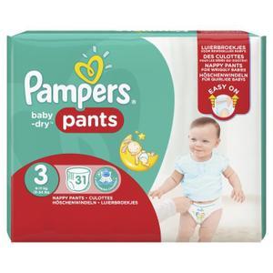 Lot de 2 paquets de couches culottes Pampers Baby Dry Pants - Ex : 2x31 couches Taille 3 (via BDR et remboursement Quoty)