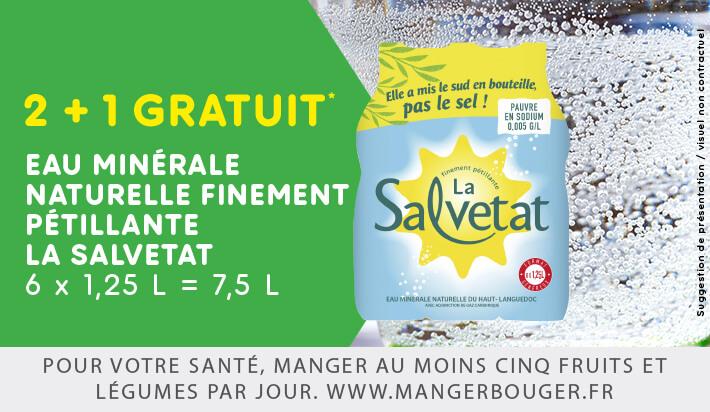 3 Packs d'eau minérale Salvetat - 6x1.25L