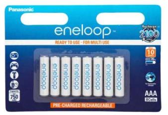 Lot de 8 Piles Rechargeables AAA Panasonic Eneloop- 800mAh
