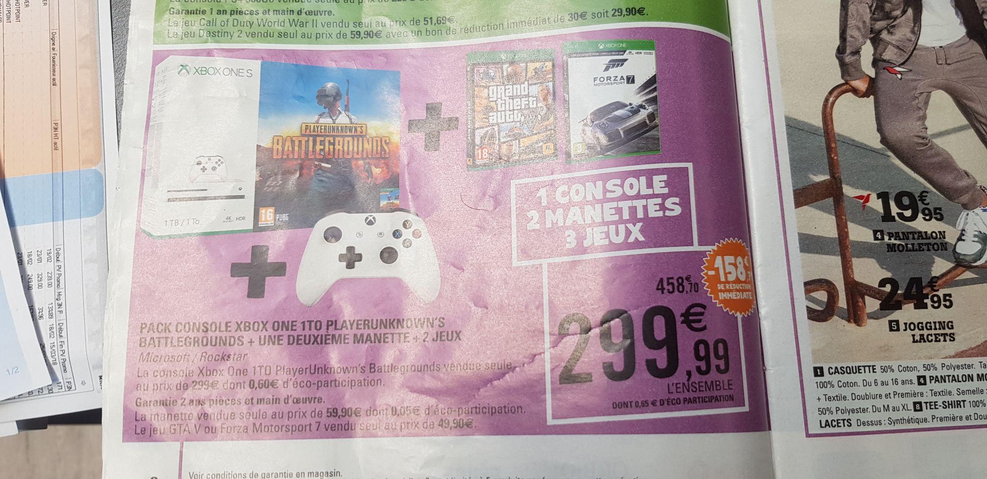 Pack Console Xbox One S 1To PUBG + deuxième manette + Forza 7 + GTA 5