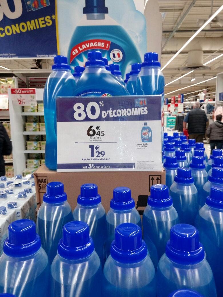 Jusqu'à -80% sur une sélection de produits (via carte fidélité) - Ex: Lessive liquide X-Tra Total (Toulon - 83)