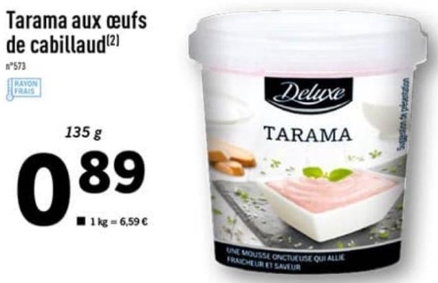 Pot de Tarama Deluxe aux œufs de cabillaud - 135g