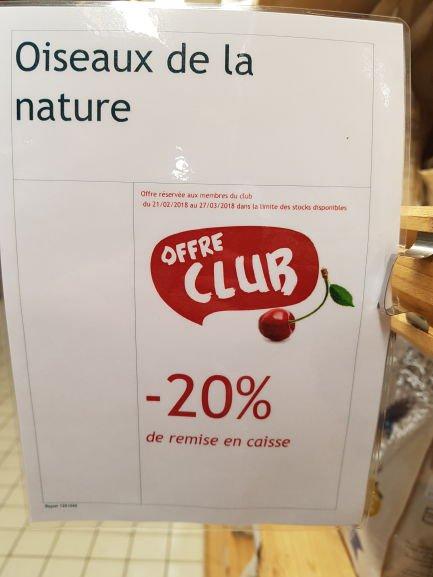 20% de réduction sur tout le rayon Oiseaux de la nature - Botanic Saint-Priest (69)