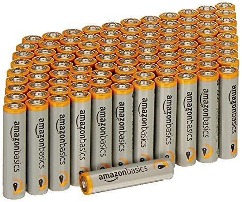Lot de 100 piles alcalines AmazonBasics - Type AAA 1,5 V