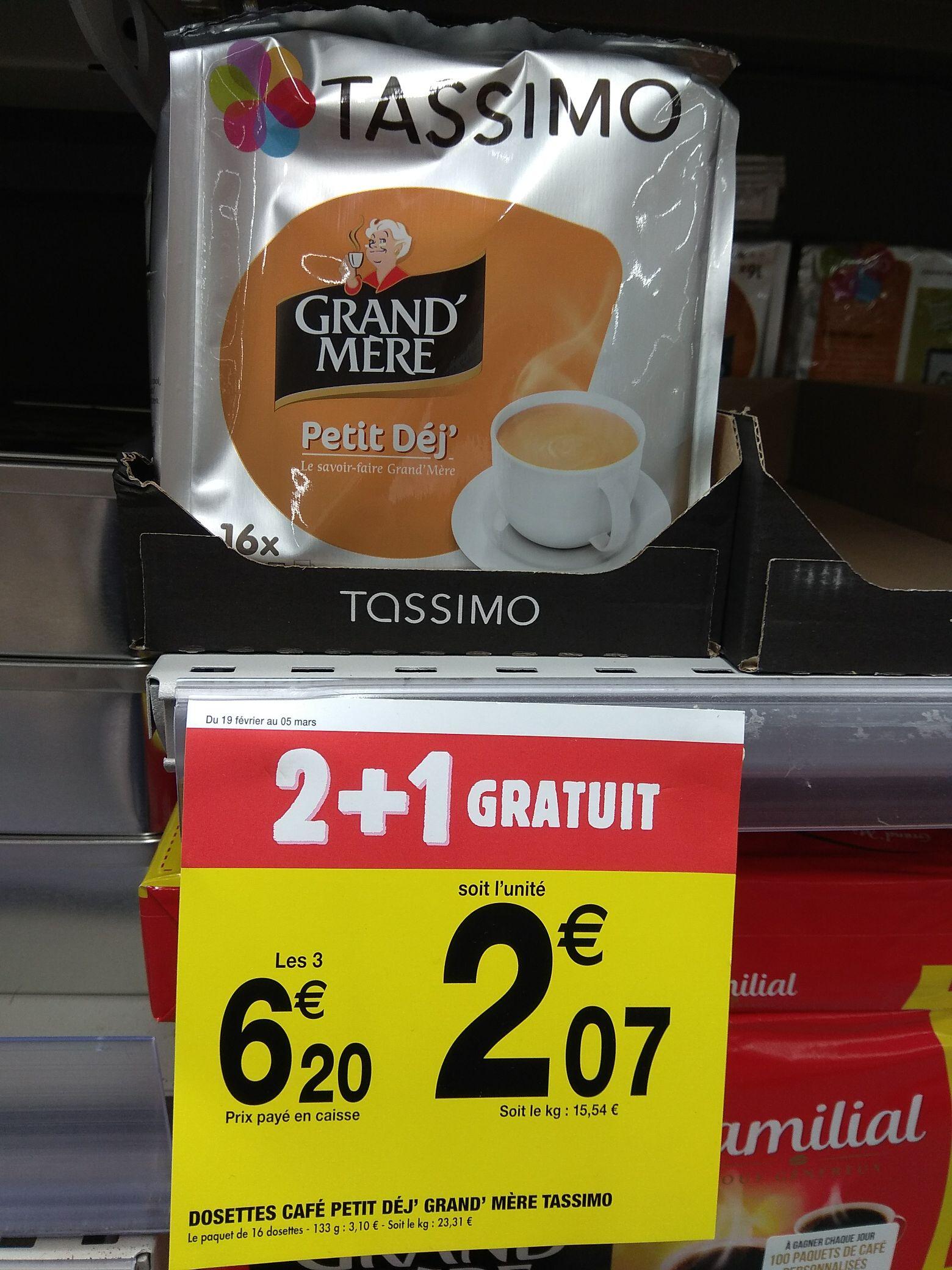 Lot de 3 paquets de 16 dosettes de café Grand Mère Tassimo Petit Déj' - 133 g au Carrefour Market (national)