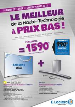 "Pack TV incurvée 55"" Samsung UE55MU9005 (4K UHD, LED) + barre de son incurvée Samsung HWM-4501 (via ODR de 600€) au E.Leclerc Bain-de-Bretagne (35) / Gouesnou (29)"