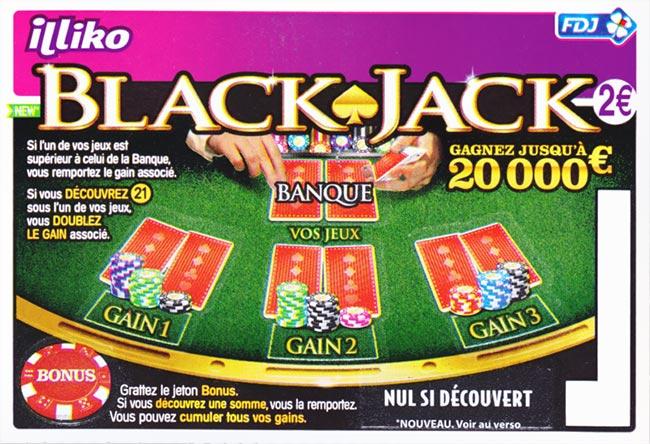Ticket à gratter BlackJack en points de vente FDJ (via FidMe)