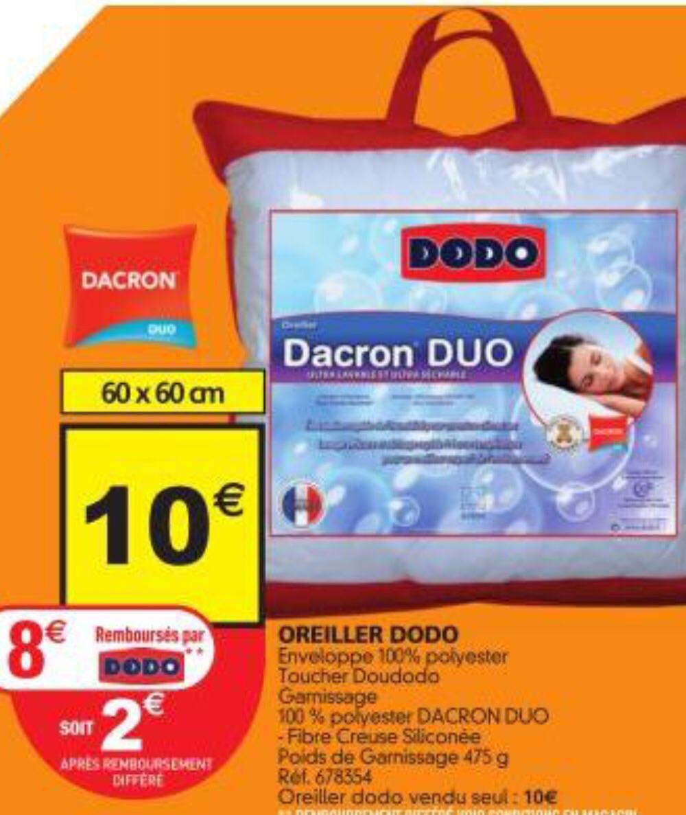 Oreiller Dodo dacron Duo (Avec ODR de 8€)