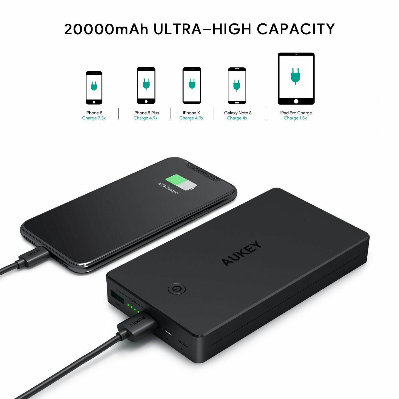 Batterie Externe Aukey  20000mAh - 2 Ports Entrée (Micro USB + Lightning) - (Vendeur Tiers)