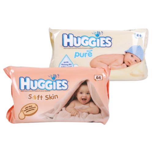 Lingettes Huggies Pure ou Sensitive pour bébé (64 pièces)